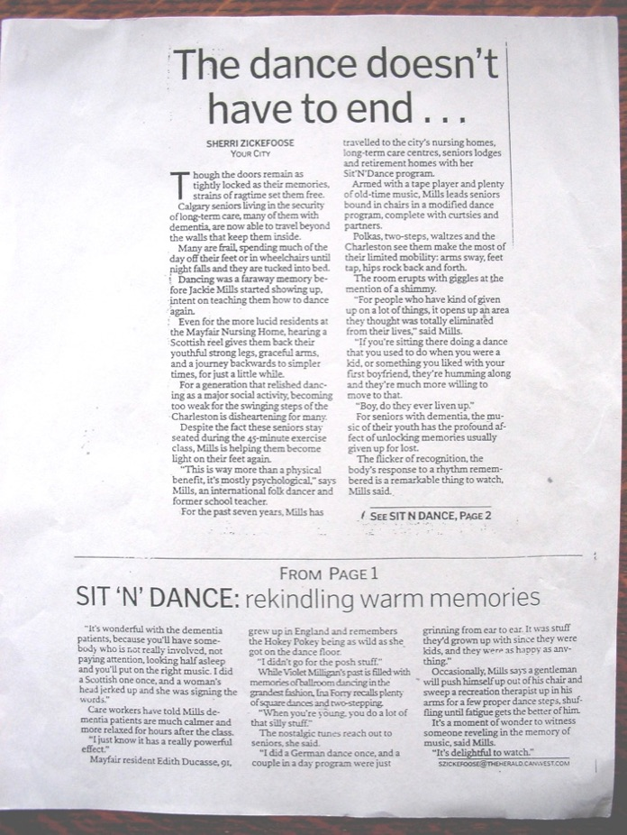 a newspaper article about sit and dance group classes